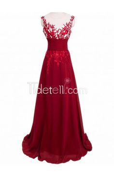 prom dress, 2016 prom dress, long red prom dress, chiffon prom dress with lace applique, princess long prom dress, evening dress, party dress, burgundy dress