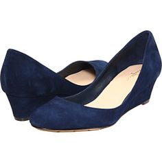 """Put on your Blue Suede Shoes""   Blue suede wedges from Cole Haan"