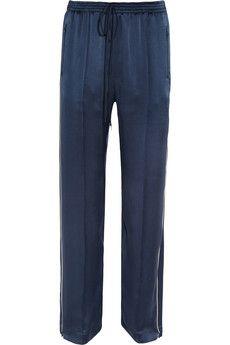 Silk-satin straight-leg pants