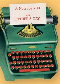 Green Typewriter - Greeting Card | Father's Day Greeting Cards