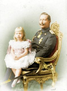 Princess Viktoria Luise with her father the Kaiser