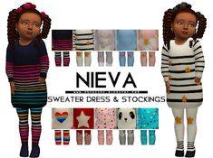 Nieva Sweater Dress & Tights - Onyx Sims The Sims 4 Pc, Sims 4 Mm, Sims 4 Toddler Clothes, Toddler Outfits, Toddler Girls, Baby Girls, The Sims 4 Bebes, Muebles Sims 4 Cc, Dress With Stockings