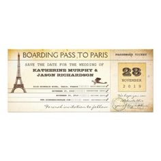 Save the date boarding pass tickets - vintage invitations with stylish Eiffel tower and air plane.