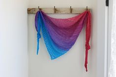 Hand knitted shawl shawlette scarf merino wool with by FARMSPUN
