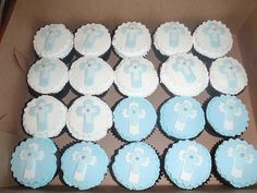 Blue and White Baptism Favors, Baptism Ideas, Christening Cupcakes, Baby Event, Baby Baptism, Cakes For Boys, First Communion, Party Planning, Fondant