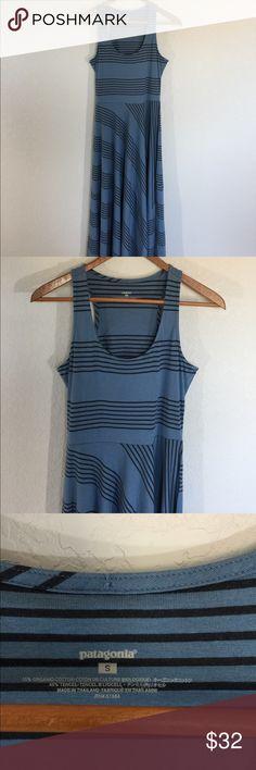 🎄Patagonia Cotton Blue & Black Cotton Dress🎄 Patagonia  Blue with black stripes  Excellent Condition  Organic Cotton So nice!♥️ Patagonia Dresses Midi