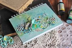 ежедневник, мятный ежедневник, блокнот, блокнот ручной работы, мятный блокнот, миксд-медиа, краски, diary, book, notebook, mixed-media, cute, bead
