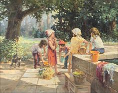 Jose Trinidad  Canadian (b. 1924)  busy children  oil on canvas  signed and dated 80  24 x 30 in.  Estimate $ 1,000-1,500 Maynards Industries - Fine Art & Antiques Auction: May 6 2015 11:00 AM  www.maynardsfineart.com