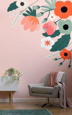 Brighten up your interior with our Anemone Floral Wall Mural. This cheerful wall. Brighten up your interior with our Anemone Floral Wall Mural. This cheerful wall art will add a charming touch to yo Mural Floral, Flower Mural, Floral Artwork, Wall Painting Decor, Mural Wall Art, Kids Wall Murals, Wall Painting Flowers, Playroom Mural, Nursery Wall Murals
