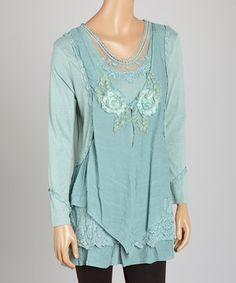 Loving this Aqua Layered Linen-Blend Tunic on #zulily! #zulilyfinds