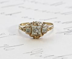 Vintage Diamond Engagement Ring, 14k Yellow & White Gold, Carved Dogwood Blossom Flowers, Delicate Retro Circa 1930 Bride Bridal Jewelry by TheEdenCollective on Etsy https://www.etsy.com/listing/242910102/vintage-diamond-engagement-ring-14k
