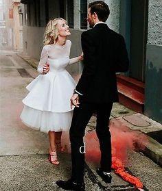 Simple Sheer Long Sleeve Short Beach Wedding Dress Custom Tea Length Bridal Gown