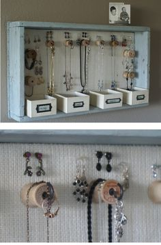 For my necklaces, earrings, bracelets … - new season bijouterie Jewelry Wall, Jewelry Organizer Wall, Jewellery Storage, Jewellery Display, Jewelry Organization, Jewellery Box, Diy Jewelry Holder, Jewelry Hanger, Home Crafts