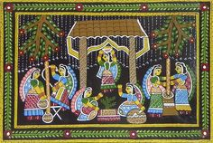 Rural Women Performing Daily Chores - Wall Hanging (Madhubani Folk Art on Hardboard)