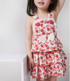 Lovely Girl Bowknot Strawberry Cotton Dress Red