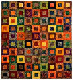 Autumn Glow lap quilt by QuiltModern on Etsy Batik Quilts, Scrappy Quilts, Square Patterns, Quilt Patterns, Textile Fiber Art, Love Sewing, Machine Quilting, Throw Rugs, Quilting Designs