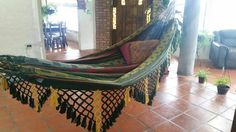 Green hammock Hand Woven 100% Cotton with hand made Bell
