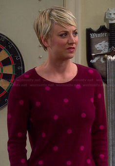 Penny's red and pink polka dot sweater on The Big Bang Theory.  Outfit Details: http://wornontv.net/39408/ #TheBigBangTheory