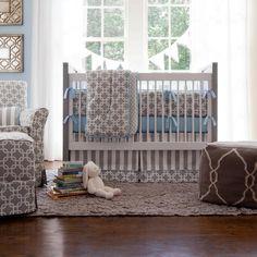 Gray Geometric Crib Bedding | Baby Boy Crib Bedding in Gray and Blue | Carousel Designs 500x500 image
