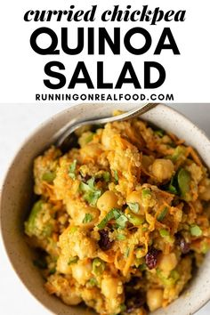 This easy vegan curried chickpea quinoa salad is full of amazing flavours for a tasty, healthy dish that works for a light meal or side salad. Vegan Recipes Using Chickpeas, Vegan Chickpea Recipes, Vegan Recipes Easy, Real Food Recipes, Cooking Recipes, Vegan Food, Vegan Weight Gain, Easy Vegan Curry, Healthy Vegan Breakfast
