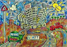 "Die Stadt (The City), 1981 by J.G.Wind - Metaphysical oil painting in a child art style / Pittura metafisica / Neo-metaphysical art / Inspired by J.G.Ballard's novel ""High Rise"""