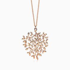 Paloma Picasso® Olive Leaf pendant in 18k rose gold, large. | Tiffany & Co.