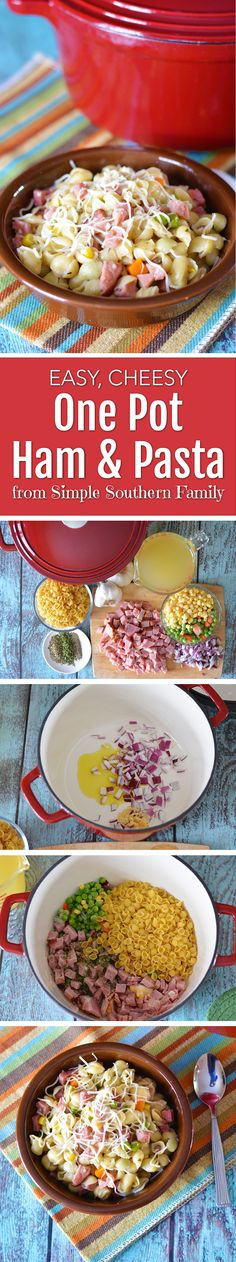 This easy one pot ham and pasta dish will make your family ask for seconds. http://www.southernfamilyfun.com/easy-cheesy-one-pot-ham-pasta-dish/