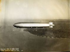 Photo of the LZ 127 Graf Zeppelin in flight above San Francisco, CA.