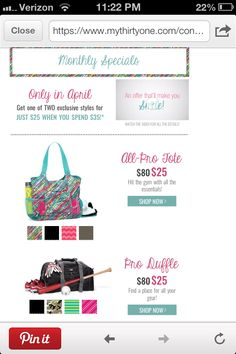 Spend $35 in April and get one of two $80 bags for only $25!!!  www.mythirtyone.com/alexishines