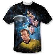 Star Trek Original Series Cast Among the Stars 1-Sided Print Poly Shirt S-3XL
