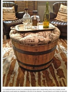 Vivi Vintage Wine Barrel Cocktail Ottoman (Pinner Said: Planters like these from home depot and get the same look for A LOT less. Barrel Projects, Diy Projects, Halloween Veranda, Outdoor Halloween, Halloween Porch, Halloween Coffin, Spooky Halloween, Halloween 2020, Halloween Ideas