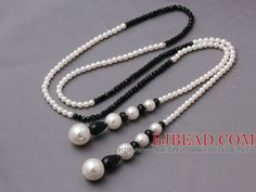 Lovely Long Style White Seashell Pearls And Manmade Black Crystal Pendant Necklace