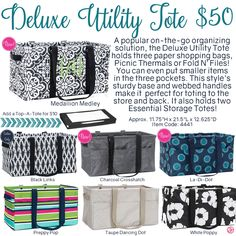 Deluxe Utility Tote by Thirty-One. Fall/Winter 2016. Click to order. Join my VIP Facebook Page at https://www.facebook.com/groups/1603655576518592/
