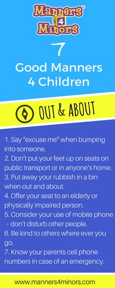 [7 Good Manners for children when out & about]