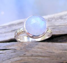 Faceted Moonstone Ring, Rainbow Moonstone Ring, Recycled Sterling Silver Moonstone Ring, Floral Pattern Ring Band, Bella's Twilight Ring on Etsy, $105.88 CAD