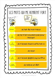 Les mots qui me rendent fort - Maîtresseuh Genres Théâtraux French Teacher, Teaching French, Elementary Education, Kids Education, Education City, Education Quotes, Education Positive, Higher Education, Core French
