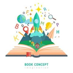 Illustration of Book concept with flat imagination and education symbols vector illustration vector art, clipart and stock vectors. Creative Poster Design, Creative Posters, Logo Dulce, Protest Posters, School Murals, Logo Design, Flat Illustration, Art Sketchbook, Art Reference