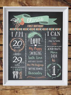 Personalized First 1st Birthday Chalkboard Sign - Wild One girl - 16x20 inch - Printable - first birthday chalkboard sign - Tribal theme