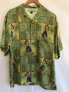 d36c162e Tommy Bahamas Mens Medium Shirt Hawaiian 100% Silk Hula Girl Camp Relax SS