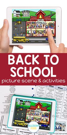 Back to school picture scene for speech therapy. Use one activity for all your language students to target multiple speech and language goals. Works great with mixed groups! Activities include WH questions, following directions, prepositions, verbs, basic concepts, categories, and more. You can print or open on a device for a NO PREP, NO PRINT option. Perfect for in-person speech therapy or teletherapy with kids in kindergarten, 1st, 2nd, & 3rd grade. Speech Therapy Activities, Language Activities, Nouns And Pronouns, Back To School Pictures, Writing Pictures, Wh Questions, Early Intervention, Prepositions, Speech And Language