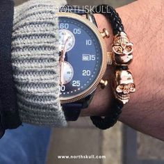 Fan Instagram Pic !   @mrchristofi posted a cool shot of his Black Nappa Leather / Gold Twin Skull Bracelet - the perfect add-on to everyday styles    Available now at Northskull.com   For a chance to get featured post a cool photo of your Northskull jewelry with the tag #Northskullfanpic on Instagram