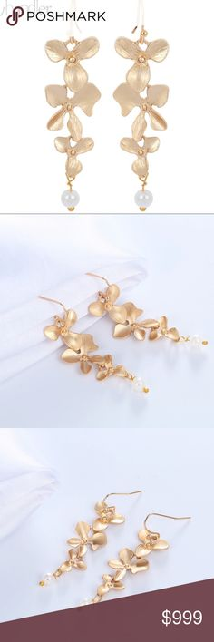 14K Gold Orchid Flower Pearl Drop Dangle Earrings Brand new in original packaging. Stunning & chic 14K gold orchid flower faux pearl drop earrings. Made of electroplated 14k gold metal with hook backings.  Nickel & lead free. All sales are final, please ask all questions prior to purchasing! Jewelry Earrings