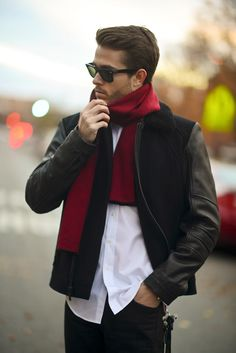 Calvin Klein scarf | Andrew Marc jacket | http://iamgalla.com/2013/11/scarlet/