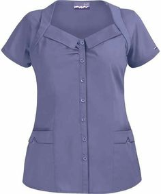 UA Butter Soft rolled collar button front scrub top has a stylish design and two front pockets for storage. Shop a wide variety of soft medical scrubs at UA. Scrubs Outfit, Scrubs Uniform, Nursing Clothes, Nursing Dress, Cute Scrubs, Uniform Design, Medical Scrubs, Scrub Tops, Work Attire