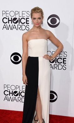 Beth Behrs 2014 People's Choice Awards Black and White Dress Formal Dress.prom dresses,formal dresses,ball gown,homecoming dresses,party dress,evening dresses,sequin dresses,cocktail dresses,graduation dresses,formal gowns,prom gown,evening gown