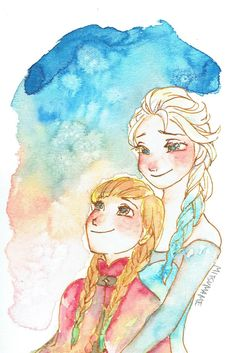 Mitsumame-Anna and Elsa. Seriously love these water colors!!