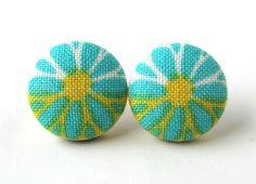 Stud earrings button turquoise blue yellow white by ~KooKooCraft on deviantART