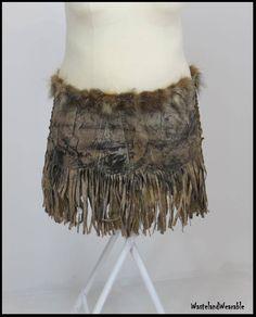 Plus Size Apocalyptic Warrior SKIRT Post Apocalyptic Skirt LEATHER FRiNGE Skirt Fox Fur Size XXL Warrior Costume by WastelandWearable by WastelandWearable on Etsy