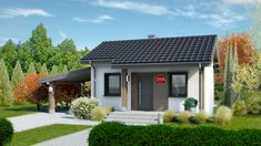 DOM.PL™ - Projekt domu Dom przy Bukowej 35A CE - DOM EB6-22 - gotowy koszt budowy Bungalow House Plans, Bungalow House Design, Small House Design, Small House Plans, 20x40 House Plans, Home Design Plans, Design Case, Small Living Rooms, New Homes