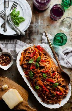 Spaghetti alla Chitarra with Sweet Pepper Lamb Ragu - The Kitchen McCabe